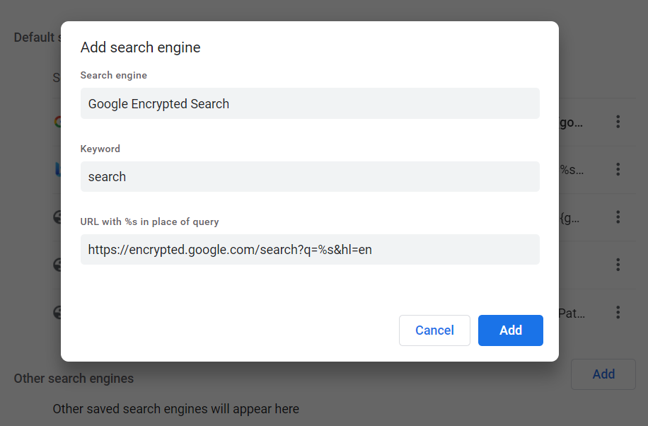 Google Chrome Encrypted Search - Part 4 - Add New Search Engine