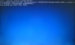 Windows Logon Process System Terminated BSOD