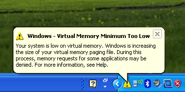 Microsoft Windows Out of Vrtual Memory Balloon Popup Message