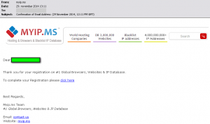 MYIP.MS Email Registration Confirmation Account Activation