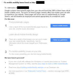 Google Page Rank - Mobile Friendly Error Report - SEO