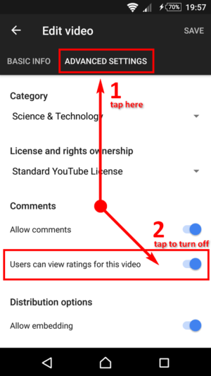 YouTube Studio App - Thumbs Down Downvoting - How To Disable Ratings - Part 2