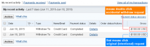 PayPal Accidents - Mouse Double Click and Double Withdraw Request