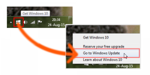 Windows 10 Free Upgrade Tray Notification