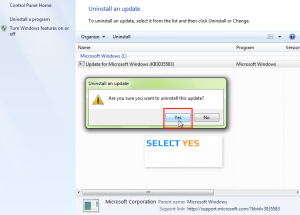 Windows 7 How To Uninstall Particular KB Update