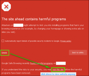 Google Chrome - The site ahead contains harmful programs (details)