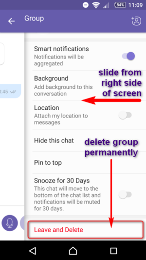Viber App Groups - How To LEAVE Group from Sidebar Slide Menu