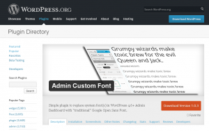 WordPress Admin-Custom-Font Plugin