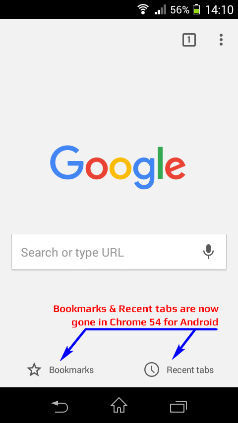 Google Chrome Android App - version 53 - New tab blank page look
