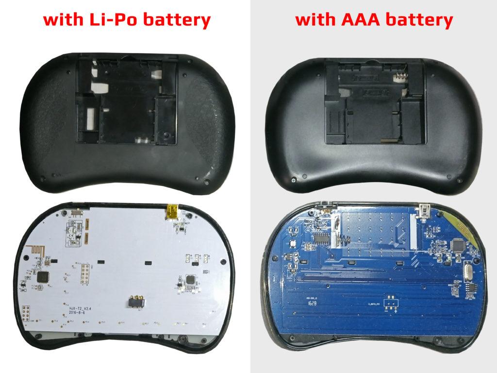 USB Mini WiFi Wireless Keyboard Types Inside i8 - LiPo and AAA Battery Models PCB Board Comparison