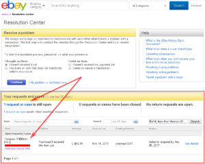 eBay - Resolution Center - Your Requests and Cases