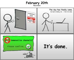 YouTube Demonetization February 20th 2018 Comic