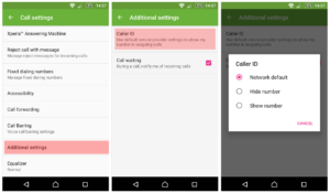 Android Call Settings - Caller ID Show-Hide Number Option