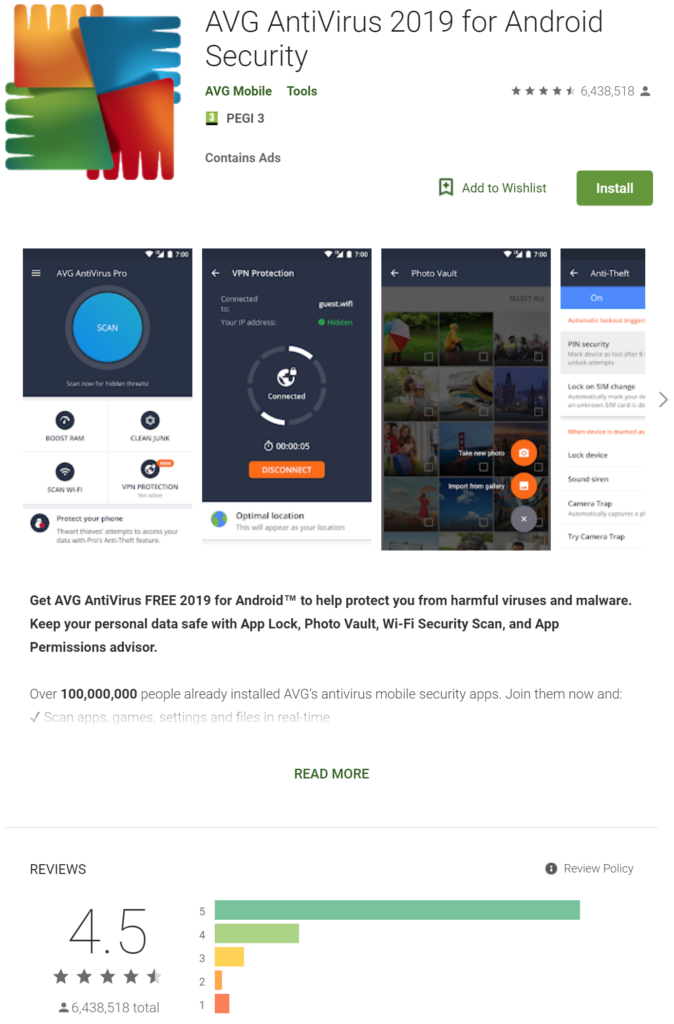 AVG Free For Android - Google PlayStore App Screenshot