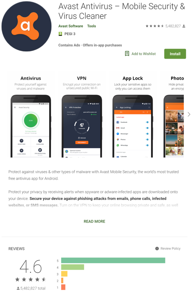 Avast Free AntiVirus For Android - Google PlayStore App Screenshot
