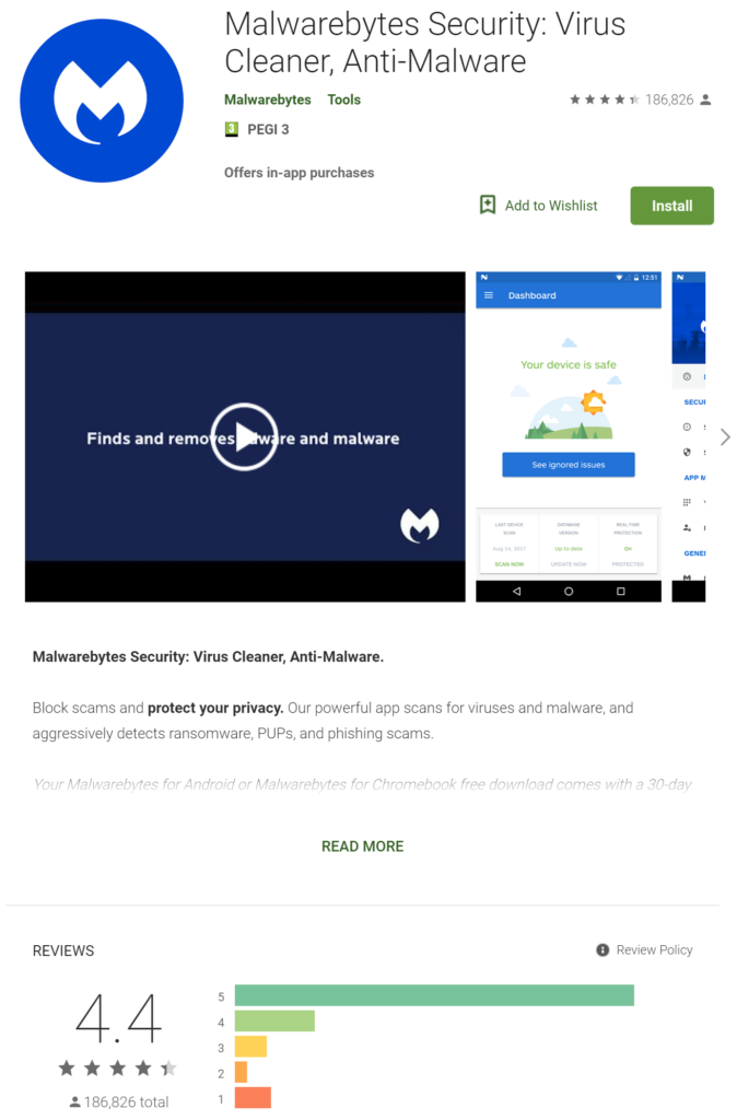 Malwarebytes Free For Android - Google PlayStore App Screenshot