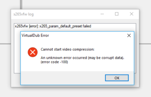 VirtualDub & x265vfw Codec - x265_param_default_preset failed error
