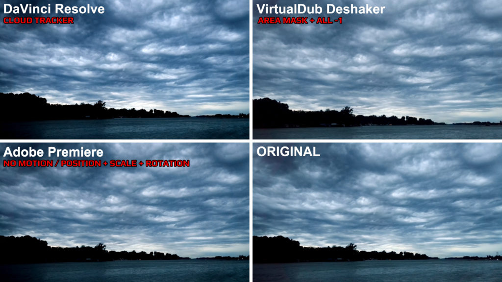 Video Stabilization Comparison - DaVinci Resolve vs Adobe Premiere vs VirtualDub Deshaker