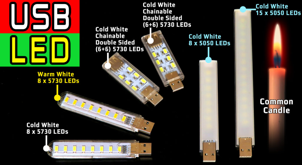 Review Top 5 USB LED Lamps / LED vs CANDLE Brightness Comparison Test