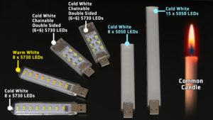 Review Top 5 USB LED Lamps / LED vs CANDLE Brightness Comparison Test