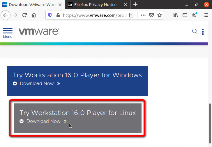 VMware Workstation Player - How To Install On Ubuntu - 01 - .bundle File Download