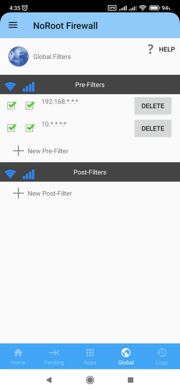 NoRoot Firewall App Pre-Filter