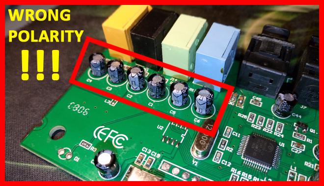 C-MEDIA CM6206 5.1 USB Audio Card - Output Coupling Capacitors WRONG POLARITY