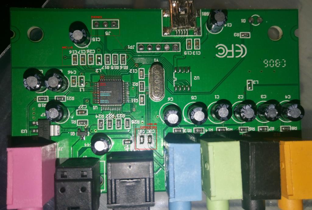 C-MEDIA CM6206 5.1 USB Audio Card - TOP & BOTTOM PCB Layers Overlay - Top Side