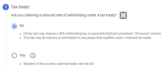 Google AdSense - IRS US Tax Treaty - Yes or No option