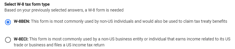 Google AdSense - US Tax Info - W-8 Tax Forms