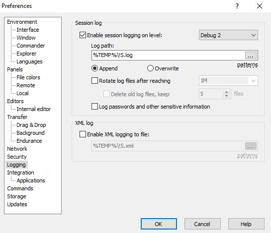 WinSCP Preferences - Debug Logging