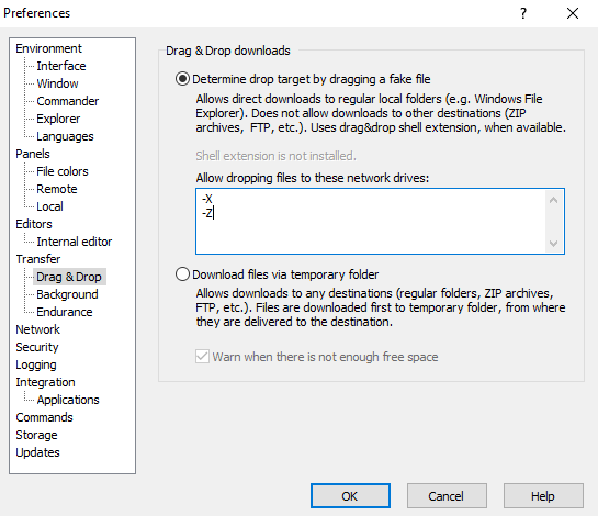 WinSCP Preferences - Transfer Options - Drag & Drop - Exclude Network Drives Monitoring