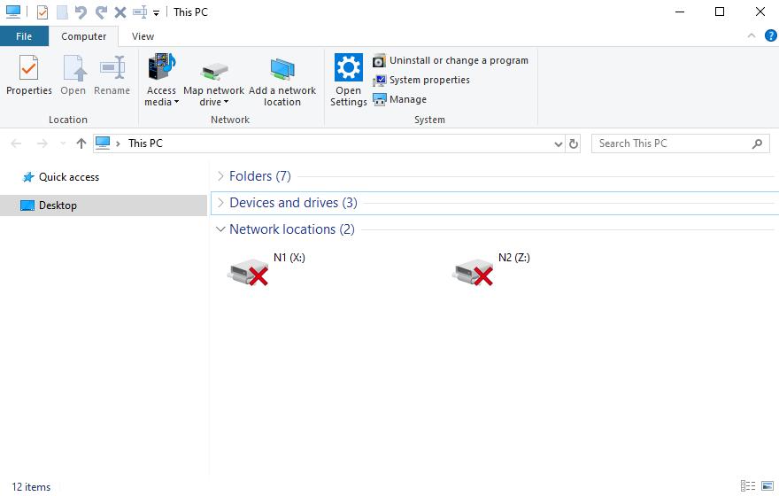 Windows 10 - Explorer - Network Drives