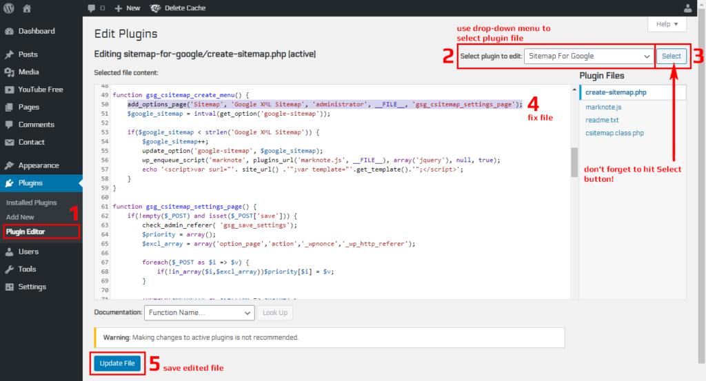 WordPress Admin Dashboard - Plugins File Editor - How To Edit Code Files on Server