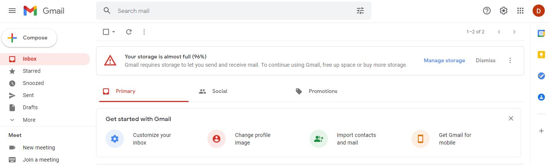 Google Gmail Storage Almost Full Notice
