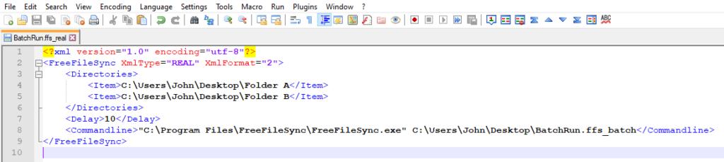 FreeFileSync ffs_real XML File Code Example