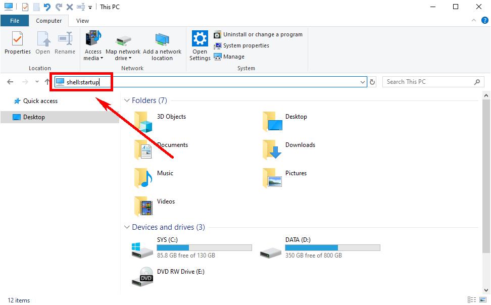 Windows 10 Explorer - shell startup command
