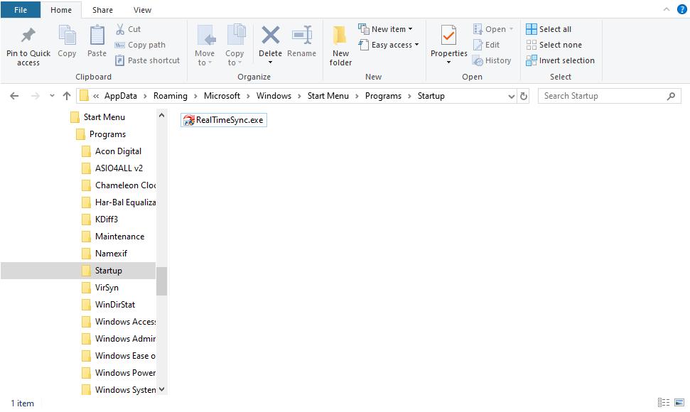 Windows 10 Startup Folder RealTimeSync Shortcut