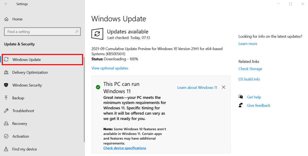 Windows 11 PC Update Check Report